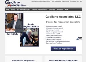 Tax Pros Gagliano Associates site built by Moran Media