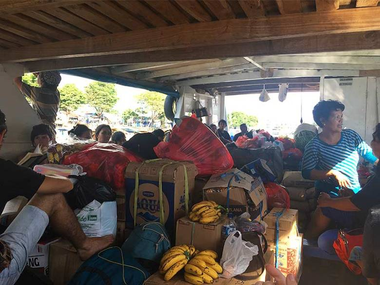 Locals on public ferry to Bunaken