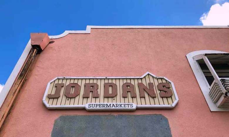 Jordans Supermarket signage in Speightstown, Barbados