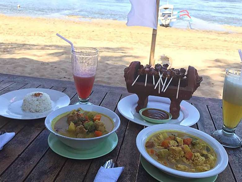 Eating on the Beach in Sanur