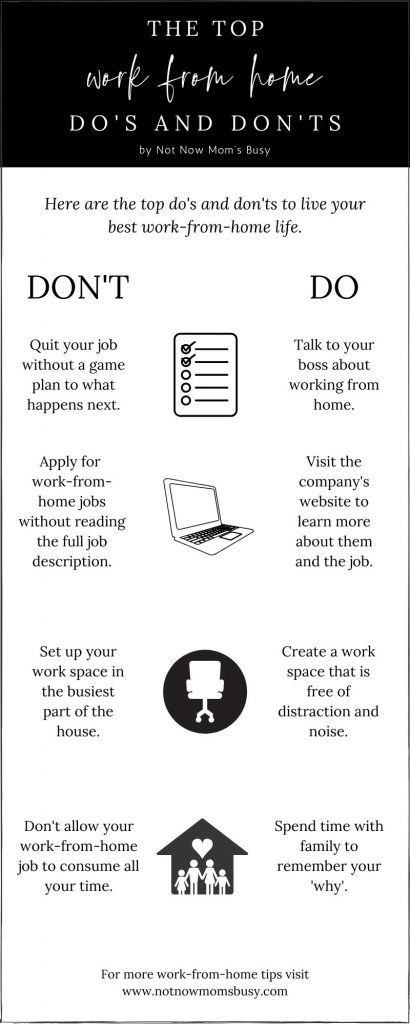 The top work-from-home do's and don'ts to live your best work from home life. #workfromhome #workathome #wahms #infographics