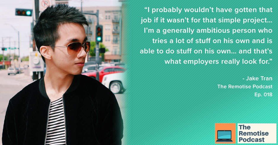 youtuber and entrepreneur, jake tran, on the remotise podcast episode 018