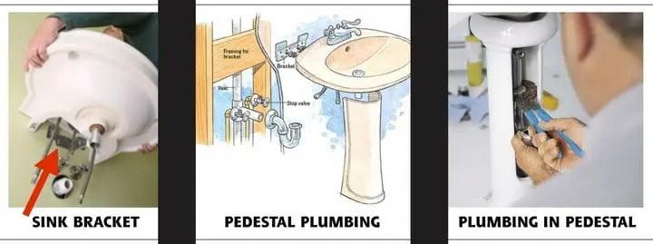remove a pedestal sink for plumbing repairs