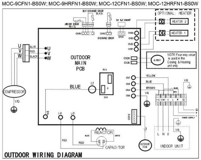 mitsubishi split ac unit wiring diagram