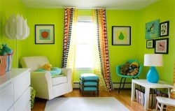 curtains under green wallpaper