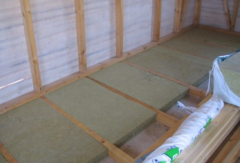 mineral wool for floor insulation on the balcony