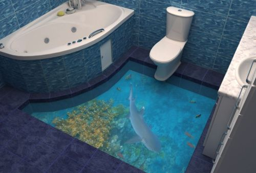 self-leveling floor in the bathroom