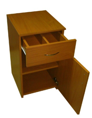 bedside table of a chipboard