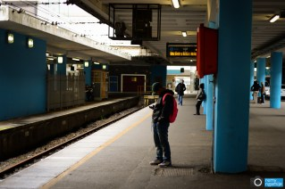 Waiting for a train at the Cape Town Train Station, South Africa.