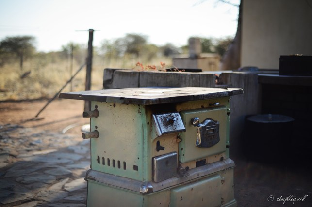 An old stove rests outside the farmhouse at the Hodges Farm. Outjo, Namibia.