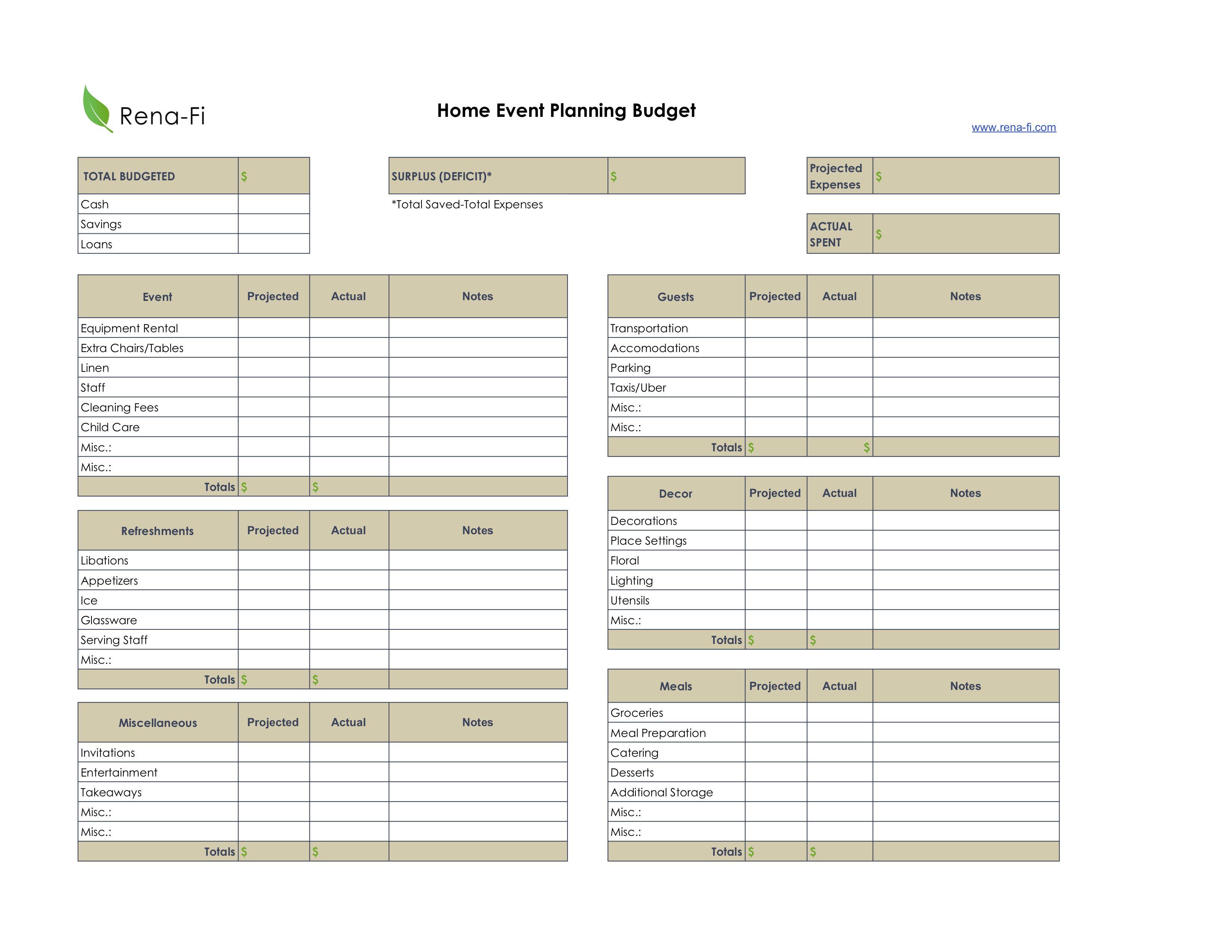 Event Planning Worksheets Rena Fi