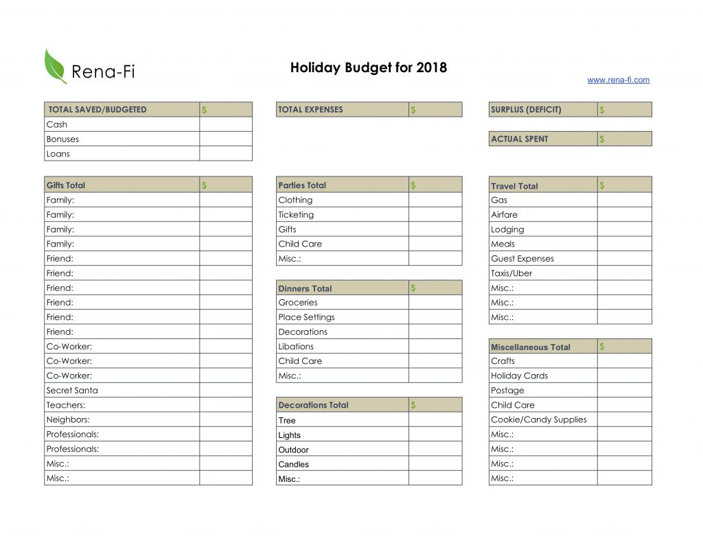 Holiday Budgeting Worksheet Rena Fi