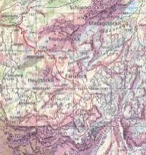 Die Route (Winterkarte mit rot markierten Stellen mit einer Neigung >30°)