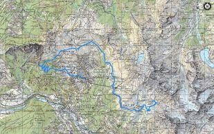 2. Tag: die Strecke Cab. du Mont Fort CAS - Verbier (Quelle: map.geo.admin.ch).