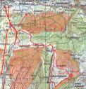 Die Route, rot markiert die Wildschutzgebiete