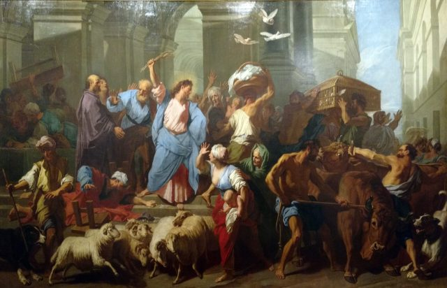 """Les marchands chasses du Temple"" (i.e. ""The Game Merchants of the Temple"") by Jean Jouvenet."