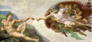 """Creation of Adam."" ca 1512. Michelangelo. Wikimedia Commons."