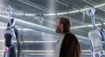 Lama Su (Anthony Phelan), Taun We (Rena Owen) and Obi-Wan Kenobi (Ewan McGregor) discuss cloning