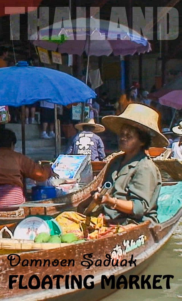 A floating market in Thailand - Damnoen Saduak is located 1 1/2 hour from Bangkok