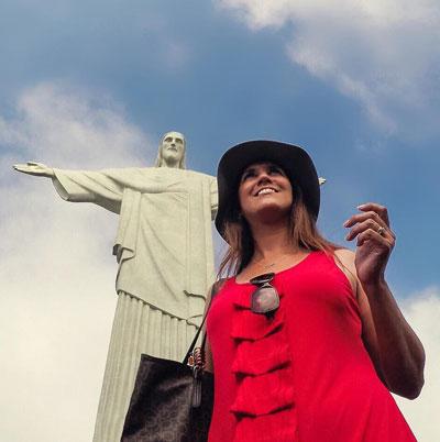 Travel Vlogger Renata Pereira at Corcovado in Rio de Janeiro, Brazil