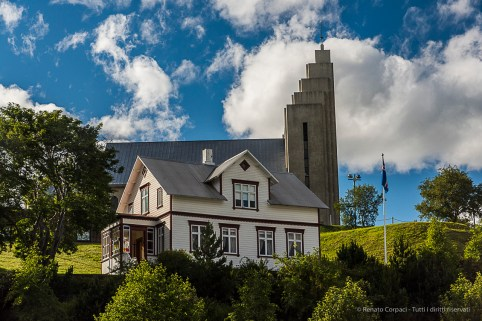 With Akureyrarkirkja in the background, Sigurhæðir, now a museum, is the former residence of renowned poet Matthías Jochumsson. Nikon D810, 78 mm (24-120.0 mm ƒ/4) 1/1000 sec ƒ/11 ISO 1250