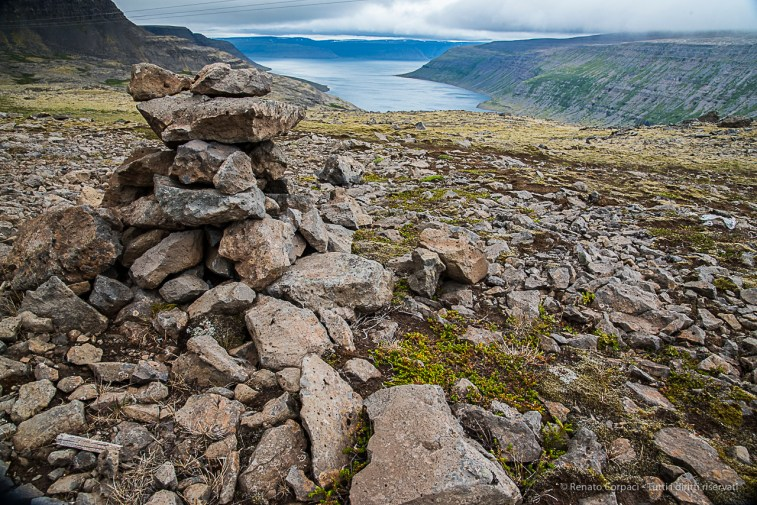 View from above Sudureyri Fjord. Nikon D810, 24 mm (24-120.0 mm ƒ/4) 1/100 sec ƒ/10 ISO 800