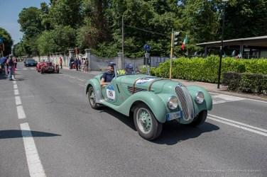 "Giuseppe Ambrosi and Paolo Merloni (I) on a1939 BMW 328Nikon D810, 24 mm (24.0mm ƒ/1.4) ) 1/680"" ƒ/4 ISO 64"
