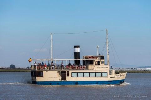 "A ferry on the Guadalquivir, from the pier at Pablado de la Plancha, Parque de Doñana. Nikon D750, 160 mm (80-400 mm ƒ/4.5-5.6) 1/4000"" ƒ/5.0 ISO 400"