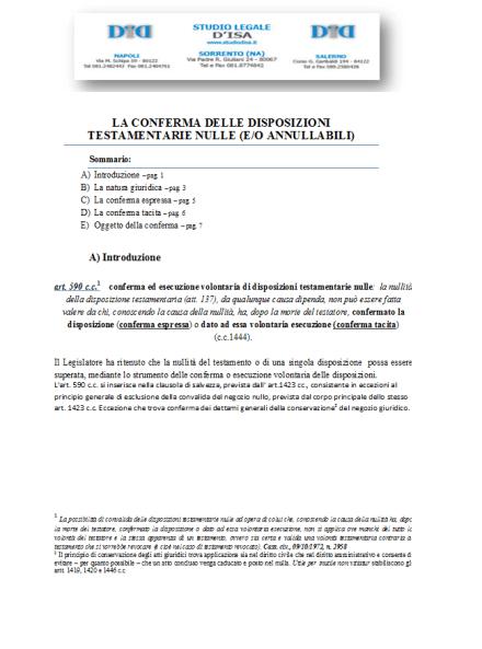 LA CONFERMA DELLE DISPOSIZIONI TESTAMENTARIE NULLE (E-O ANNULLABILI)