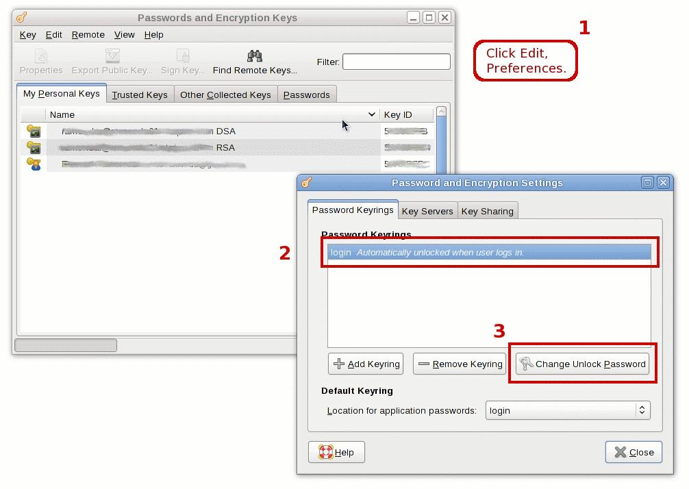 Change Gnome Keyring Unlock Password