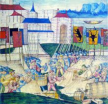 Scène de bataille avec bannière suisses-2