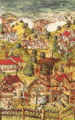 Scènes de pillage canton de Vaud – guerre Bourgogne