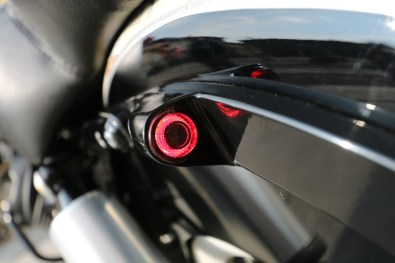 Moto Guzzi V9 Bobber Custom, 'Vecchio Conio' by Rustom [LED indicators-turn-signal close-up]