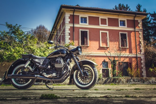 Moto Guzzi V9 Bobber Custom, 'Vecchio Conio' by Rustom [countryhouse distant right]