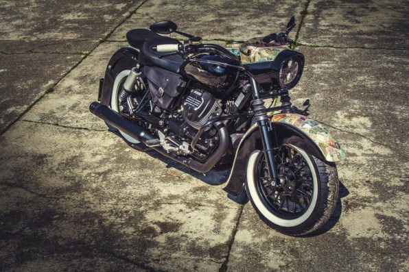 Moto Guzzi V9 Bobber Custom, 'Vecchio Conio' by Rustom [front-right distant top]