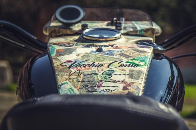 Moto Guzzi V9 Bobber Custom, 'Vecchio Conio' by Rustom [tank and instruments]
