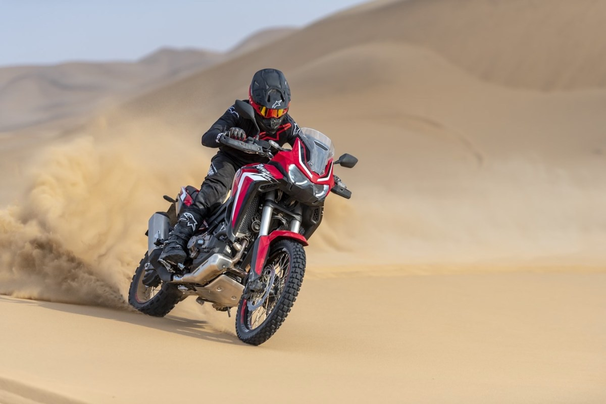 2020 Africa Twin with rider in the desert