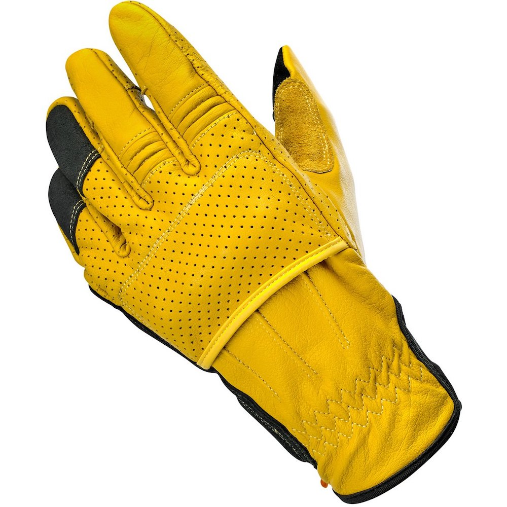 Biltwell Borrego Gloves - Gold-Black left hand