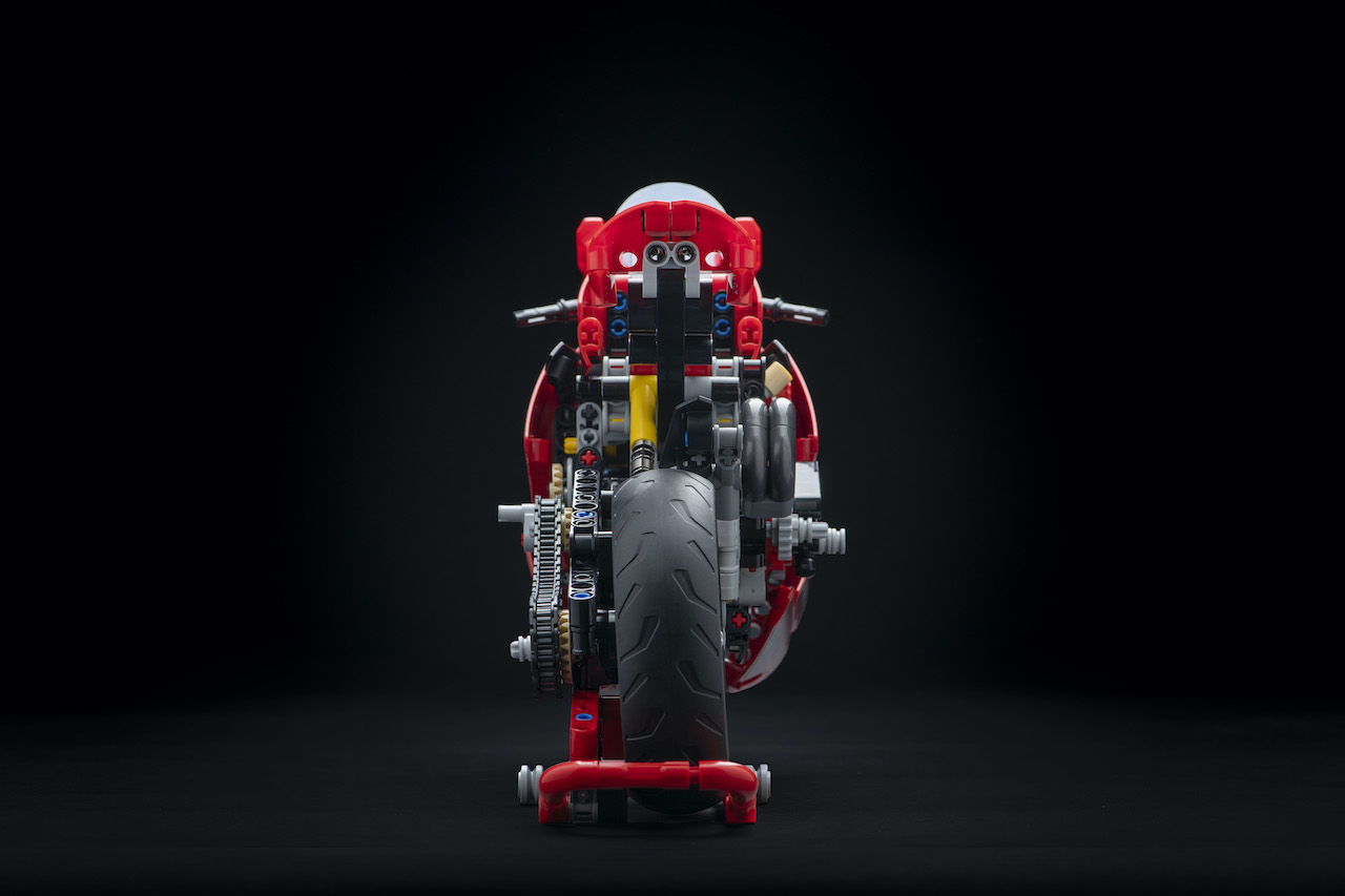 Rear of Ducati Panigale V4 R LEGO Motorcycle on paddock stand