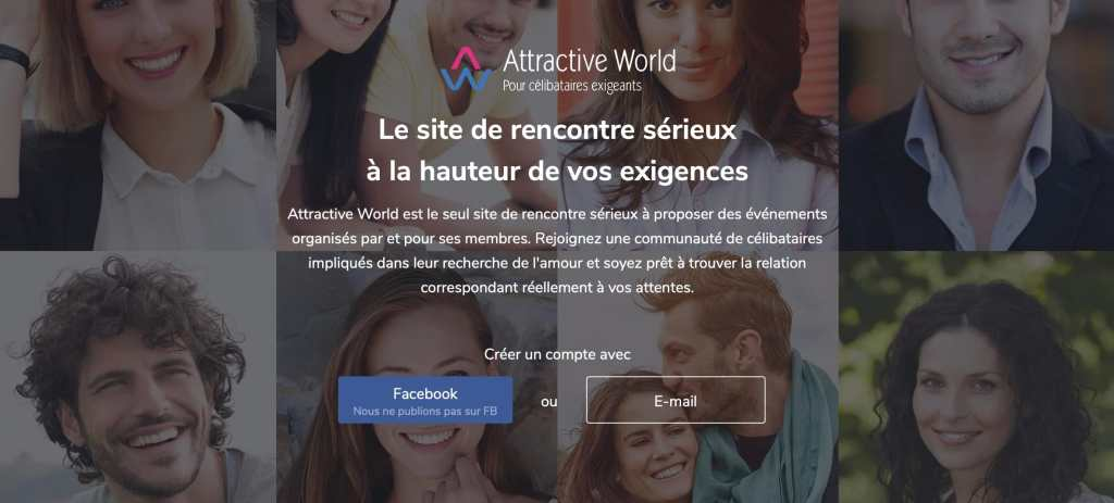 Page d'accueil du site de rencontre Attractive World.