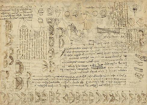 Leonardo Da Vinci - problema de Delos o duplicar equivalencia cubo entre varias partes del círculo de Atlantic Codex