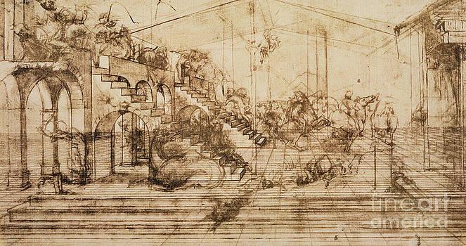 Leonardo da Vinci - Estudio de perspectiva para el fondo de la Adoración de los Reyes Magos