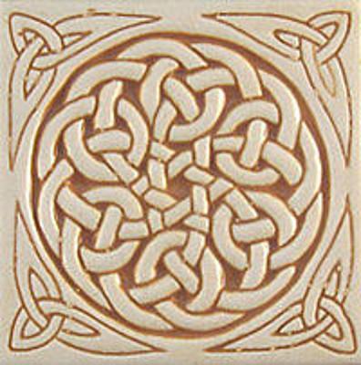celtic relief carved ceramic art tile
