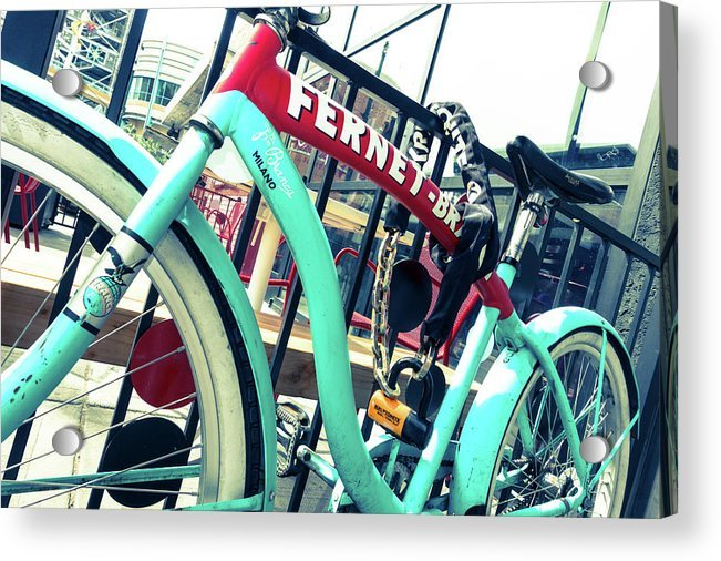 Vintage Bicycle Locked on Gate Acrylic Print by Steven Green