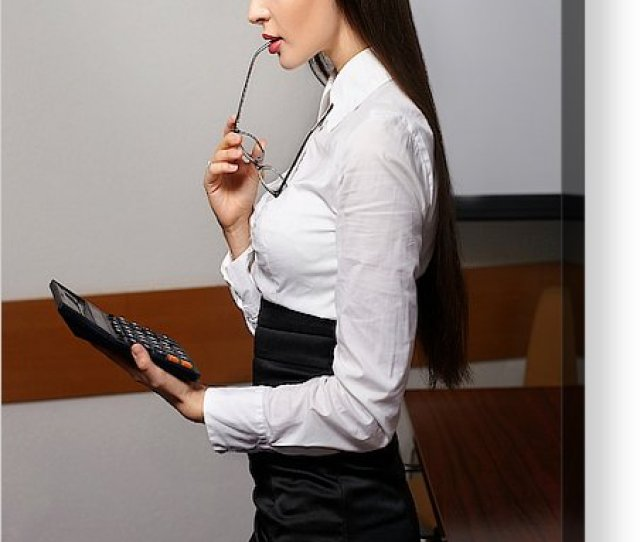 New Business Acrylic Print Featuring The Photograph Young Sexy Business Woman In Office With Red Lips