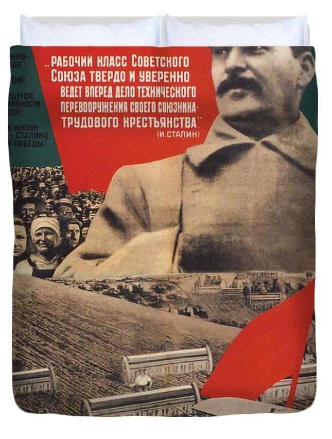Stalin Soviet propaganda poster Duvet Cover for Sale by Soviet Art
