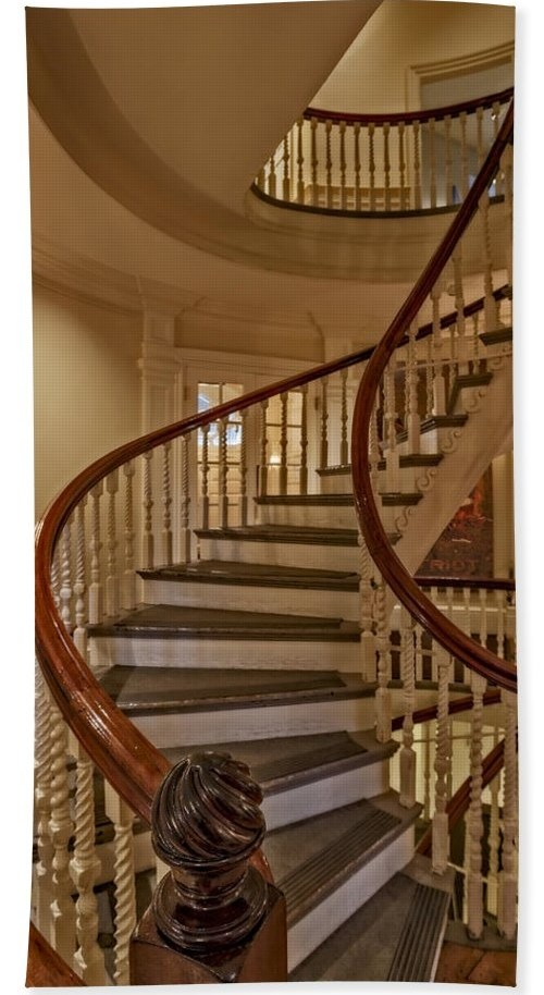 Old State House Spiral Staircase Bath Towel For Sale By Susan | Wooden Spiral Staircase For Sale | Solid Wood | 36 Inch Diameter | Unique | Curved | Closed Riser