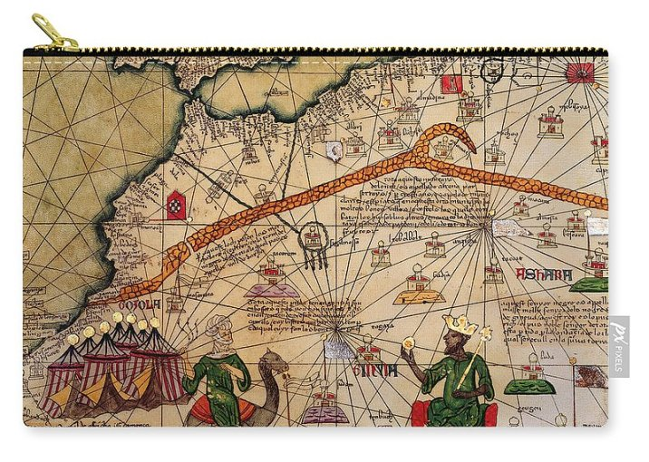 Catalan Map Of Europe And North Africa Charles V Of France In 1381     Detail Carry all Pouch featuring the drawing Catalan Map Of Europe And  North Africa Charles