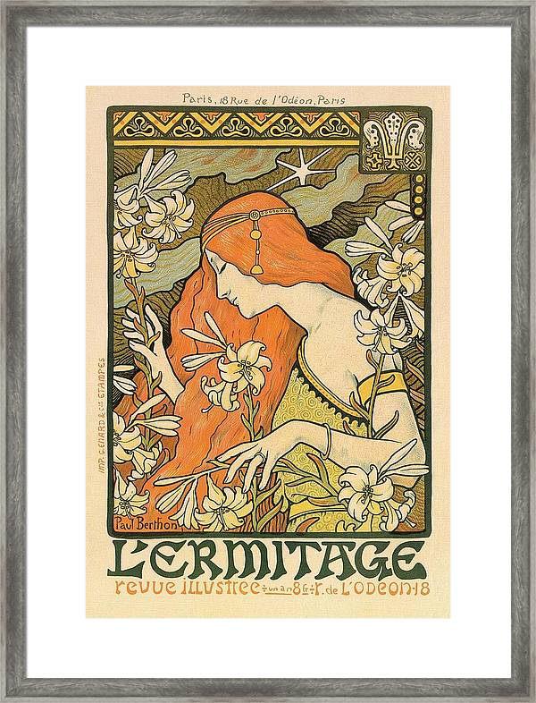 l ermitage alphonse mucha art nouveau poster framed print