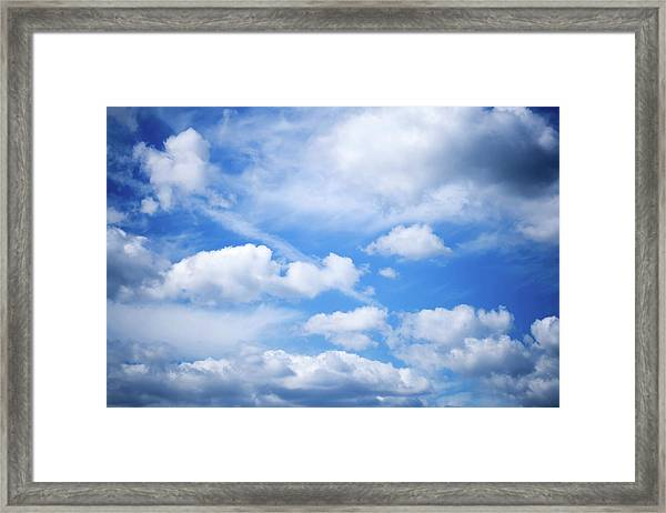 Mixture Of Cumulus Clouds And Cirrus Framed Print By Kativ